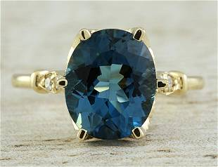 3.41 CTW Topaz 14K Yellow Gold Diamond Ring