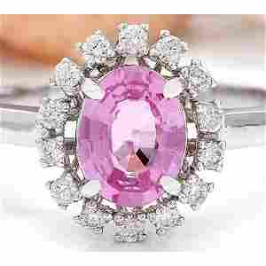 1.43 CTW Natural Sapphire 14K Solid White Gold Diamond