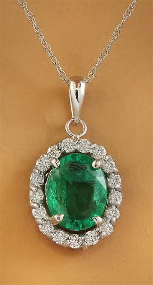 2.00 CTW Emerald 14K White Gold Diamond Necklace