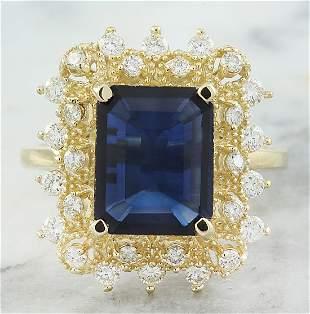 7.03 CTW Sapphire 18K Yellow Gold Diamond Ring