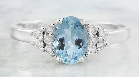 1.85 CTW Topaz 18K White Gold Diamond Ring