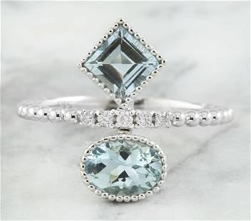 1.31 CTW Aquamarine 14K White Gold Diamond Ring