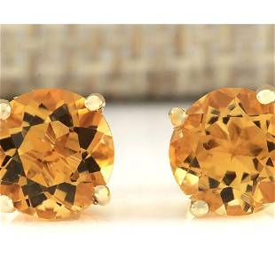 3.00 CTW Natural Citrine Earrings 14k Solid Yellow Gold