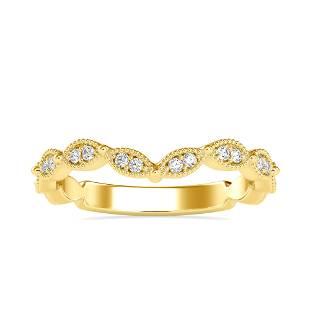 0.16CT Natural Diamond 14K Yellow Gold Ring