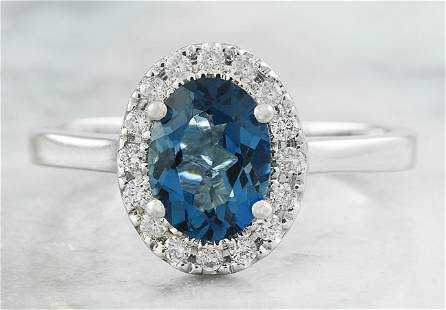 1.60 CTW Topaz 18K White Gold Diamond Ring
