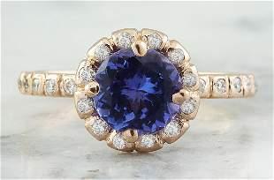 1.44 CTW Tanzanite 14K Rose Gold Diamond Ring