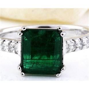 2.41 CTW Natural Emerald 14K Solid White Gold Diamond