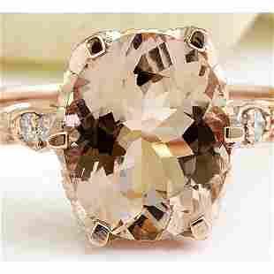 2.15 CTW Natural Morganite 18K Solid Rose Gold Diamond