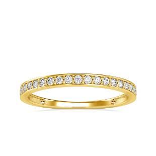 0.18CT Natural Diamond 14K Yellow Gold Ring