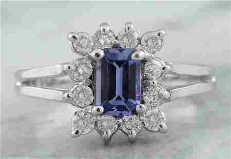 0.98 CTW Tanzanite 18K White Gold Diamond Ring