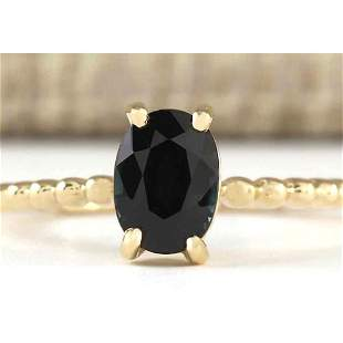 1.00 CTW Natural Blue Sapphire Ring 18K Solid Yellow