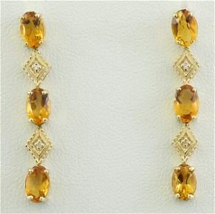 2.65 CTW Citrine 14K Yellow Gold Diamond Earrings
