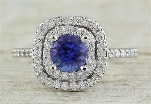 1.30 CTW Tanzanite 18K White Gold Diamond Ring