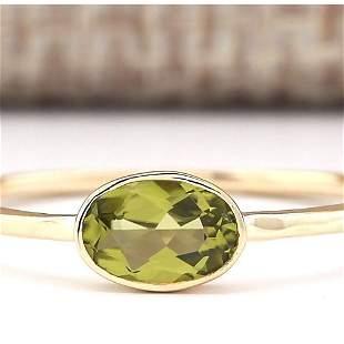 0.60 CTW Natural Peridot Ring In 14k Yellow Gold