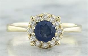 0.72 CTW Sapphire 18K Yellow Gold Diamond Ring