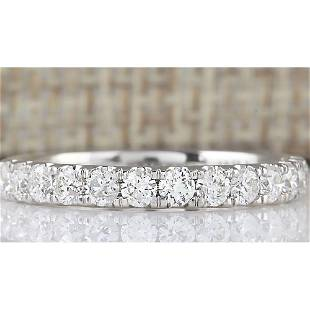 0.80 CTW Natural Diamond Ring 18K Solid White Gold