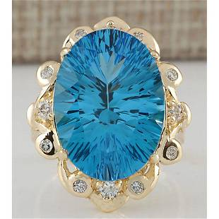 13.85 CTW Natural Topaz And Diamond Ring In 18K Yellow