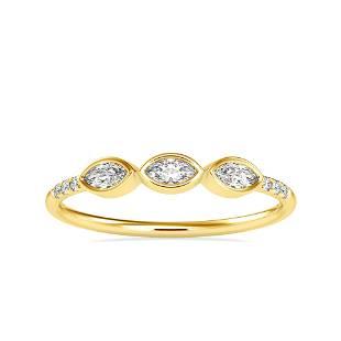 0.19CT Natural Diamond 14K Yellow Gold Ring