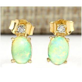 1.60 CTW Natural Opal And Diamond Earrings 18K Solid
