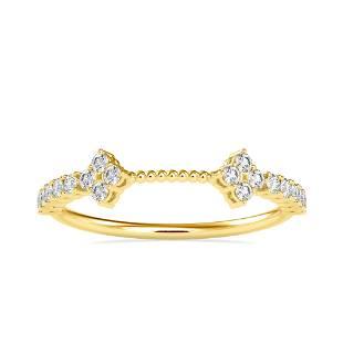 0.23CT Natural Diamond 14K Yellow Gold Ring