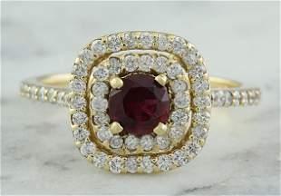 1.40 CTW Ruby 18K Yellow Gold Diamond Ring