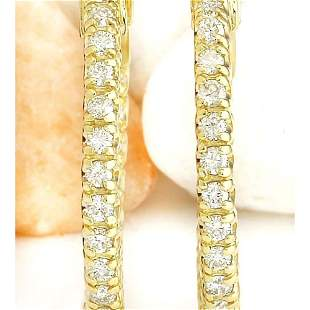 0.90 CTW Natural Diamond 18K Solid Yellow Gold Earrings