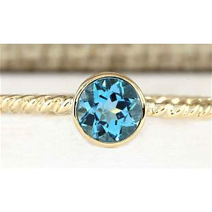 1.00 CTW Natural Blue Topaz Ring In 18K Yellow Gold