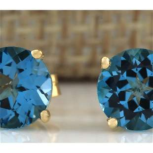 3.00 CTW Natural Blue Topaz Earrings 18K Solid Yellow