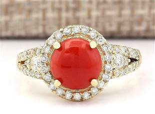 2.40 CTW Natural Coral And Diamond Ring In 14k Yellow