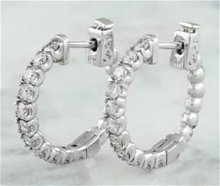 1.10 CTW 14K White Gold Diamond Hoop Earrings