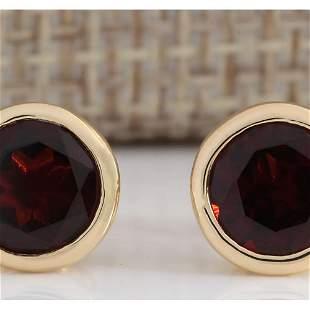 3.00 CTW Natural Red Garnet Earrings 14k Solid Yellow