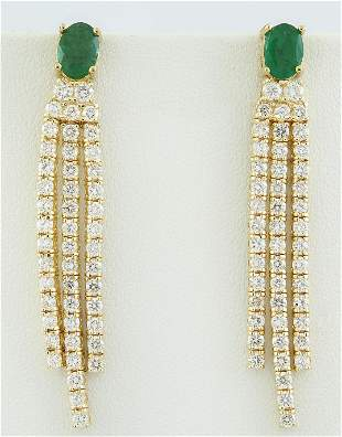 4.50 CTW Emerald 14K Yellow Gold Diamond Earrings