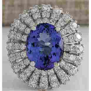 5.45 CTW Natural Blue Tanzanite And Diamond Ring In 14K