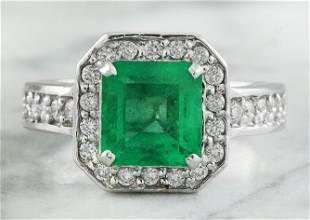 2.85 CTW Emerald 14K White Gold Diamond Ring