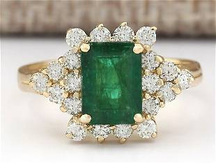 2.05 CTW Natural Emerald And Diamond Ring In 18K Yellow