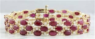 38.40 CTW Ruby 14K Yellow Gold Diamond Bracelet