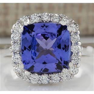 5.33 CTW Natural Blue Tanzanite And Diamond Ring 14K
