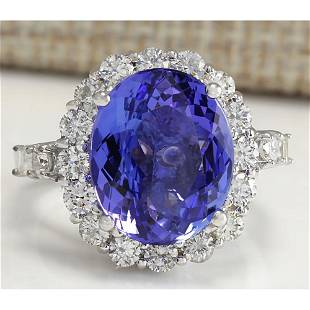 8.15 CTW Natural Blue Tanzanite And Diamond Ring In 14K