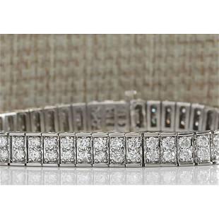 12 CTW Natural Diamond Bracelet In 18K Solid White Gold
