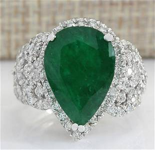 8.20 CTW Natural Emerald And Diamond Ring In 18K White