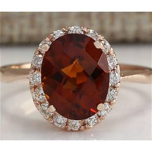 2.82 CTW Natural Citrine And Diamond Ring 18K Solid