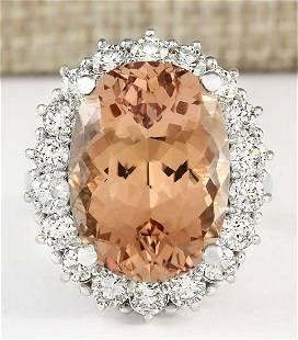 16.87 CTW Natural Morganite And Diamond Ring In 18K