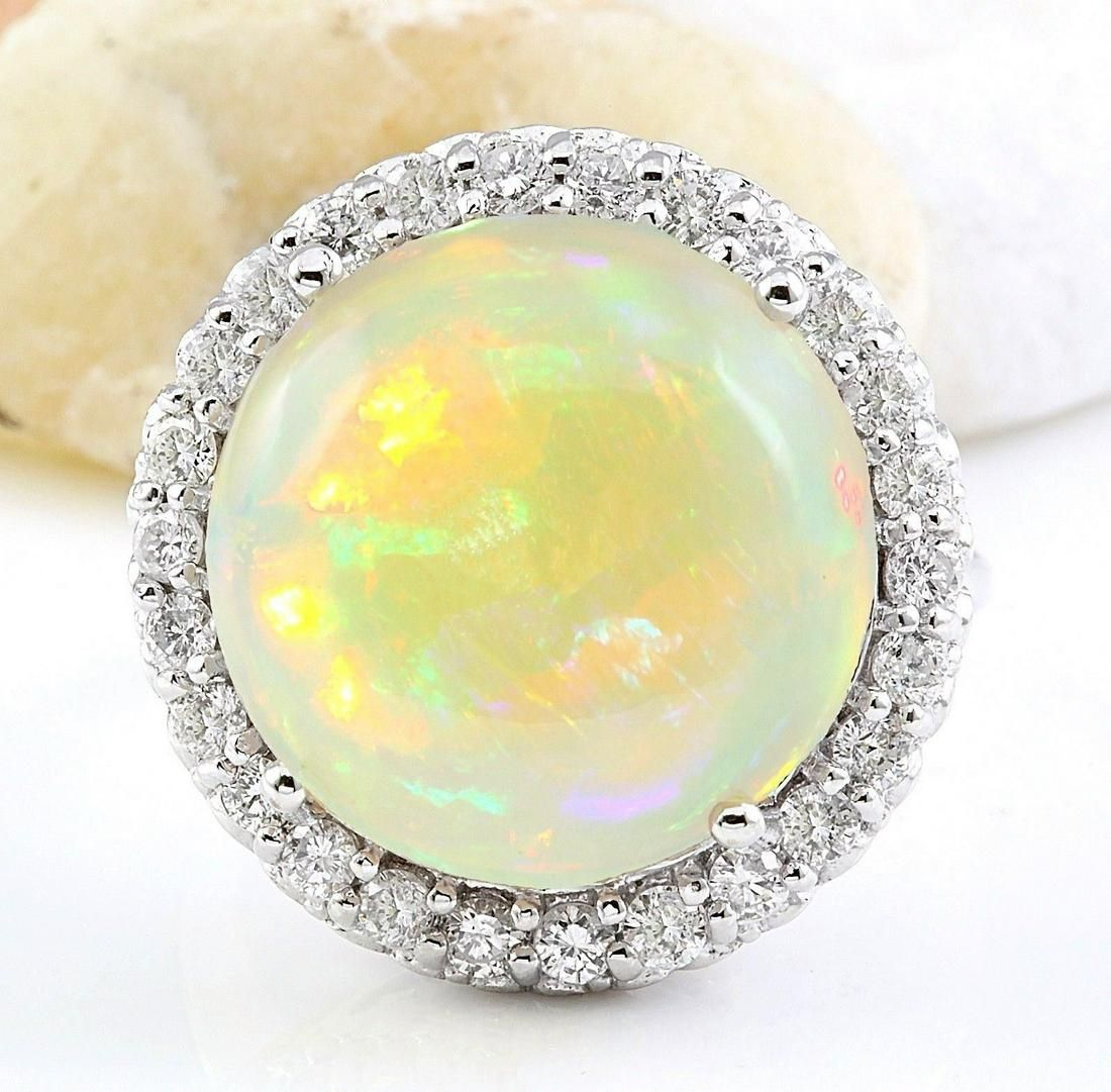 16.02 CTW Natural Opal 18K Solid White Gold Diamond