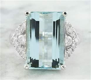 10.10 CTW Aquamarine 18K White Diamond Ring
