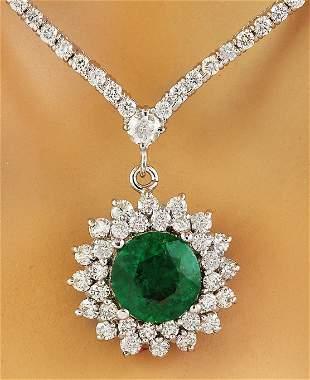 7.55 CTW Emerald 18K White Gold Diamond Necklace