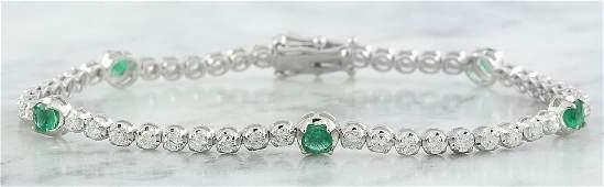 2.56 CTW Emerald 18K White Gold Diamond Bracelet