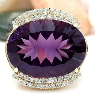 36.79 CTW Natural Amethyst 18K Solid Yellow Gold