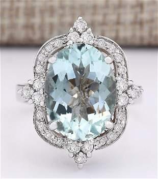 8.92 CTW Natural Aquamarine And Diamond Ring In 18K