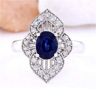 1.85 CTW Natural Sapphire 14K Solid White Gold Diamond