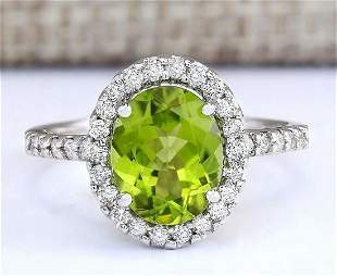3.03 CTW Natural Peridot And Diamond Ring In 14k White